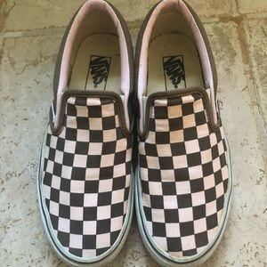 Pink/brown checkerboard slip-on Vans